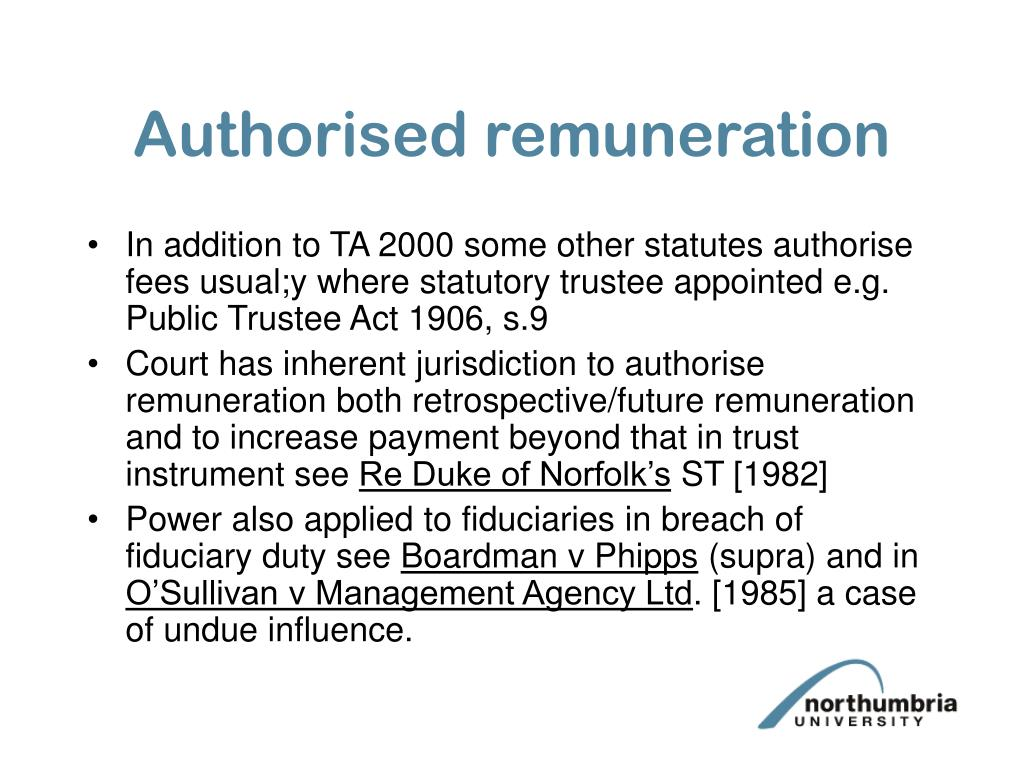 Authorised remuneration