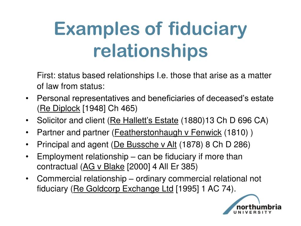 Examples of fiduciary relationships