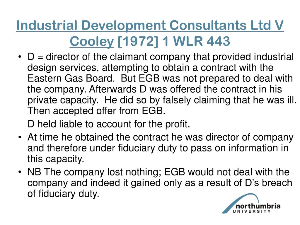 Industrial Development Consultants Ltd V Cooley