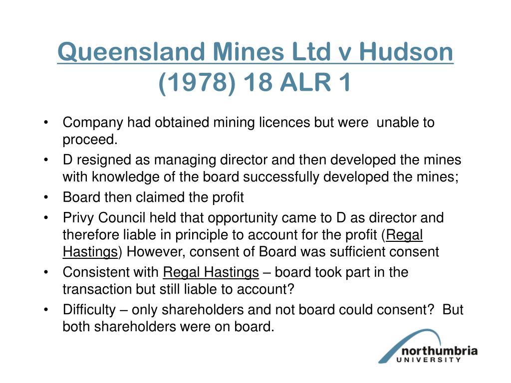Queensland Mines Ltd v Hudson
