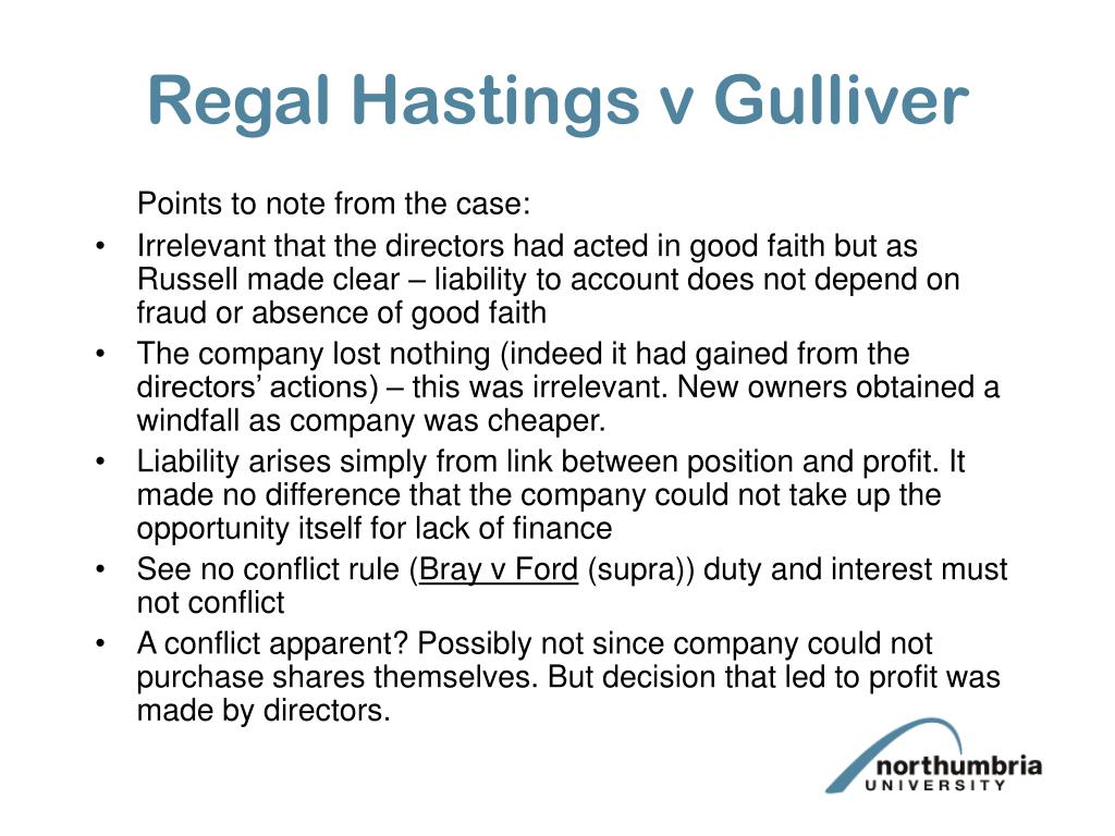 Regal Hastings v Gulliver