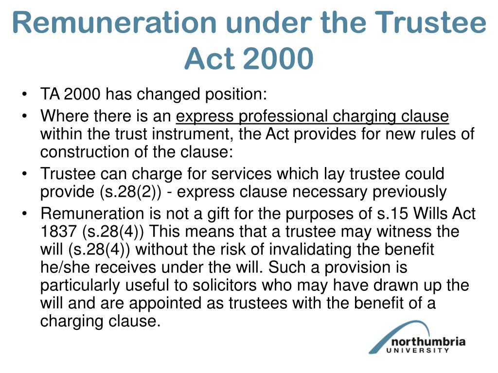Remuneration under the Trustee Act 2000