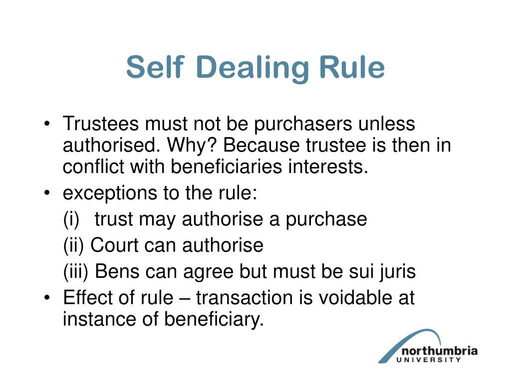 Self Dealing Rule