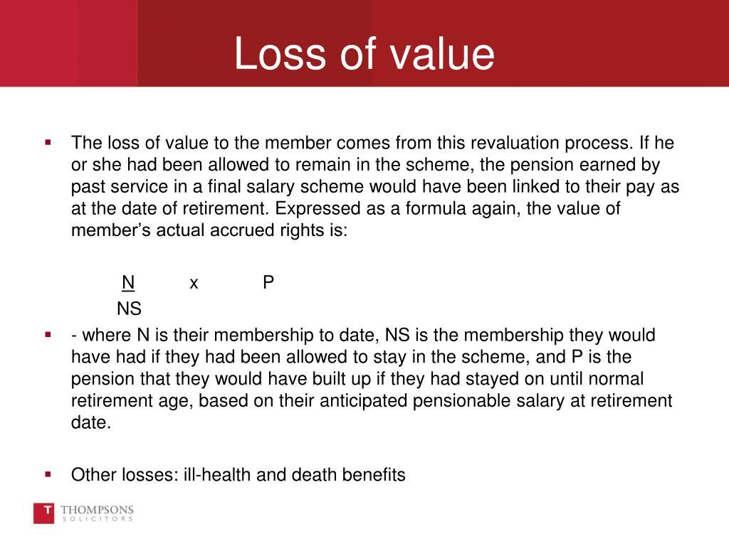 Loss of value