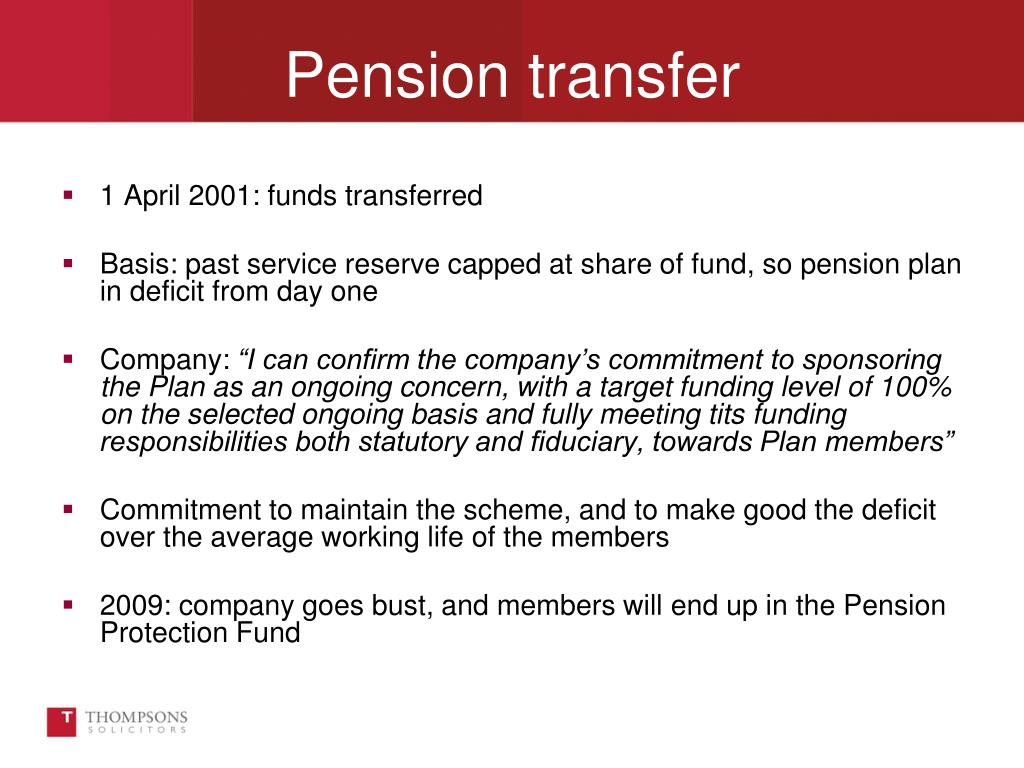 1 April 2001: funds transferred