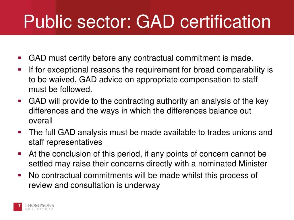 Public sector: GAD certification