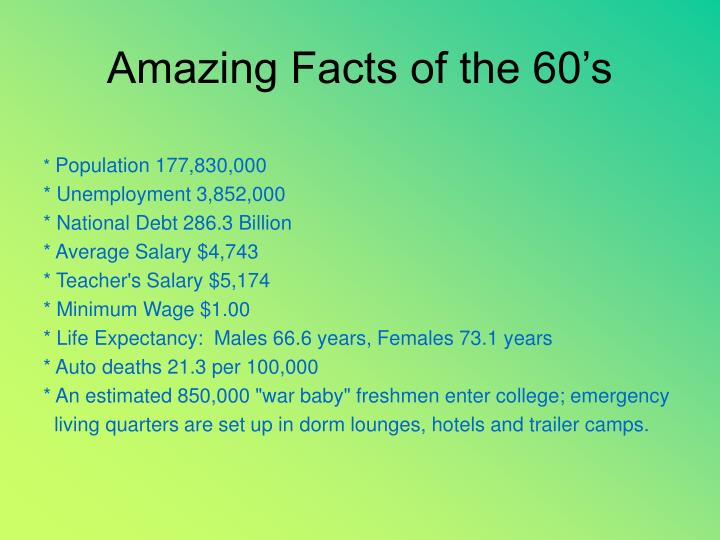 Amazing facts of the 60 s