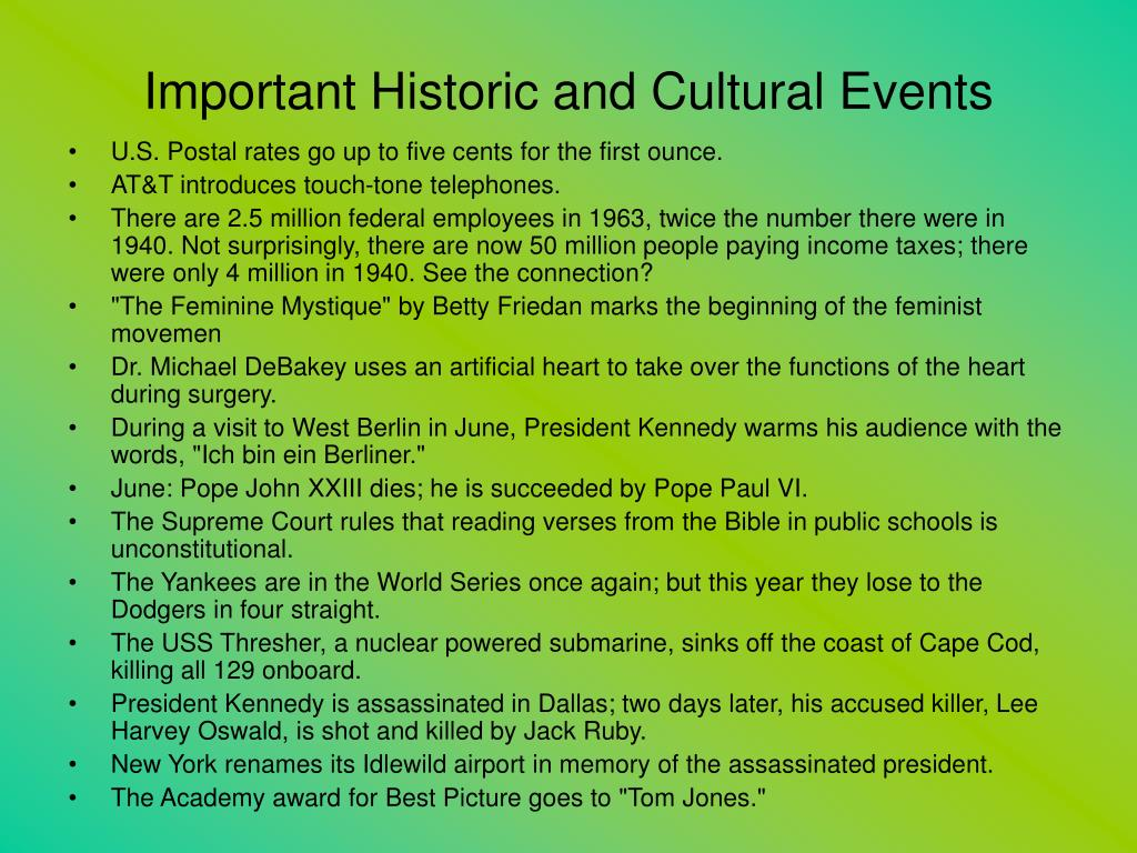 Important Historic and Cultural Events