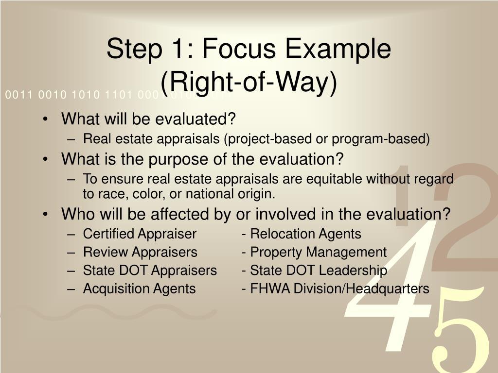 Step 1: Focus Example