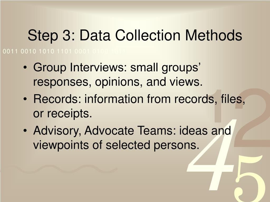 Step 3: Data Collection Methods