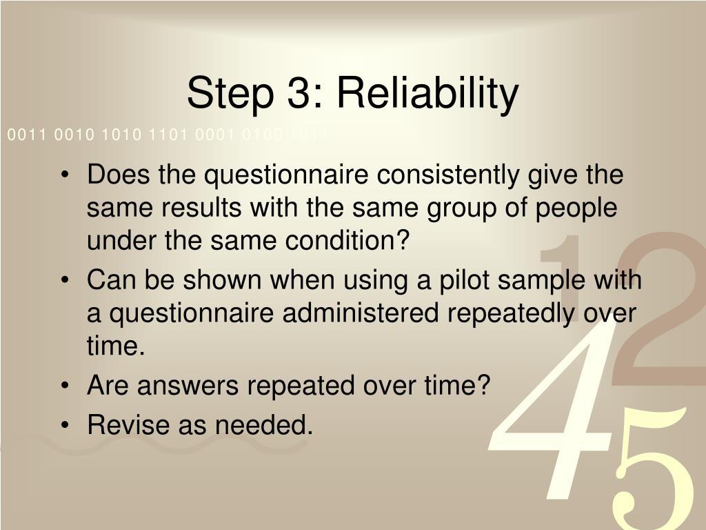 Step 3: Reliability