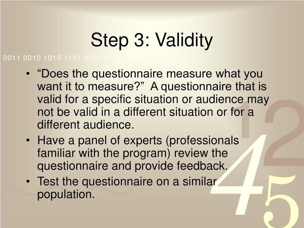 Step 3: Validity