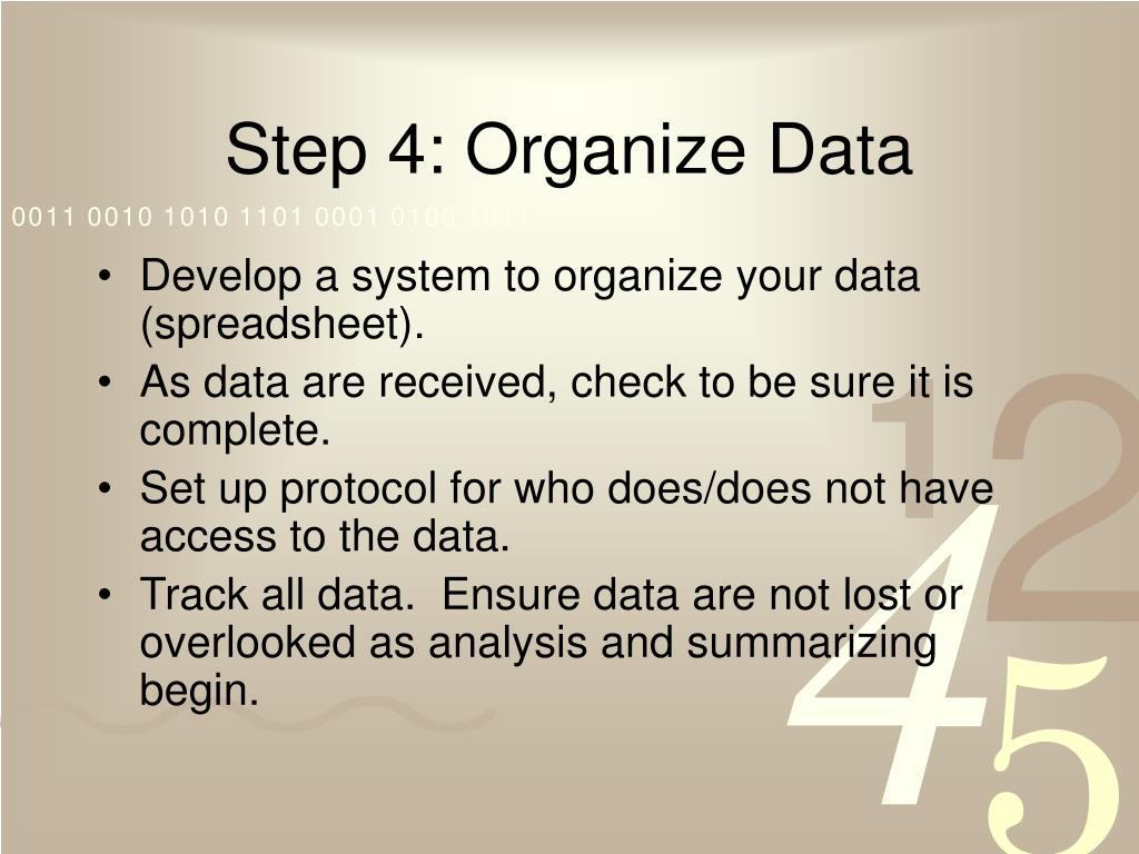 Step 4: Organize Data