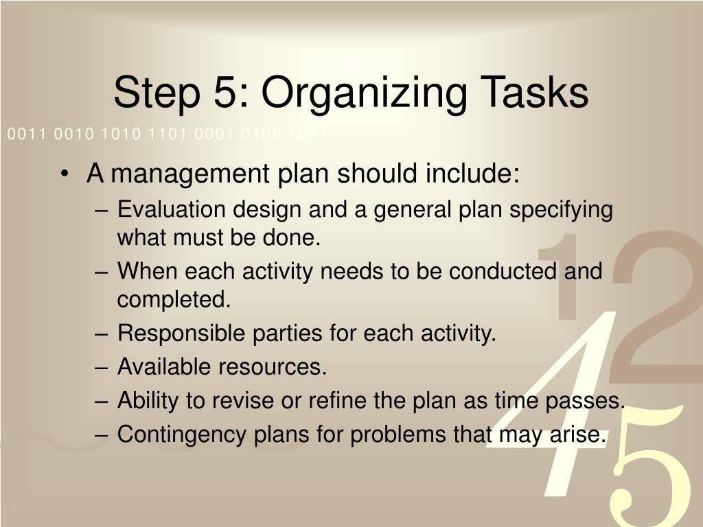 Step 5: Organizing Tasks