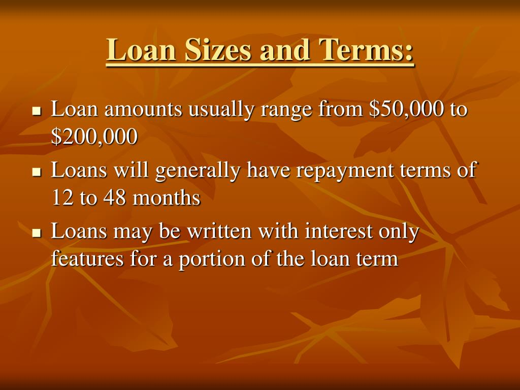 Loan Sizes and Terms: