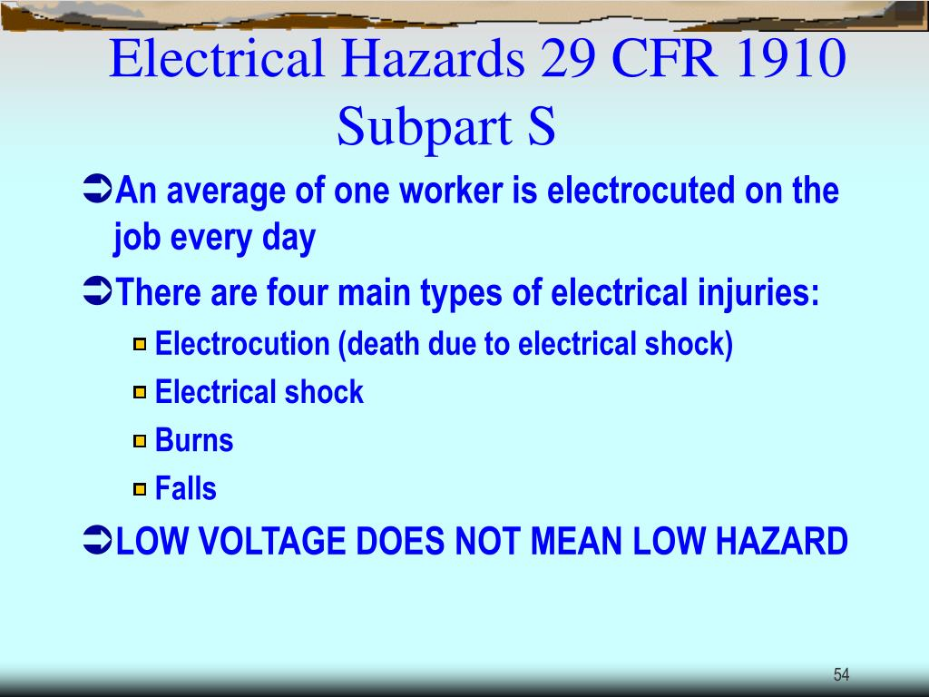Electrical Hazards 29 CFR 1910