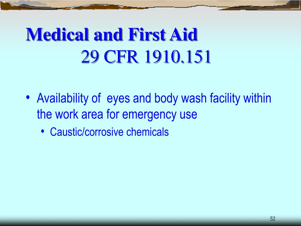 Medical and First Aid