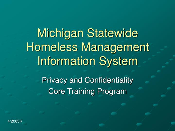 Michigan statewide homeless management information system