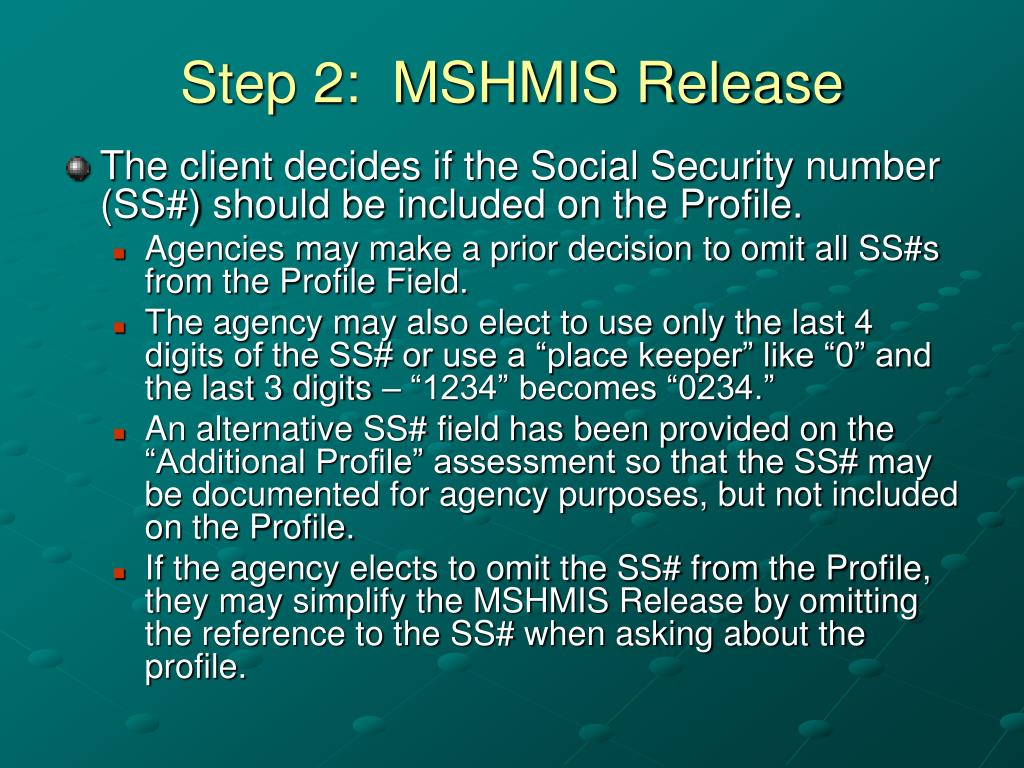Step 2:  MSHMIS Release