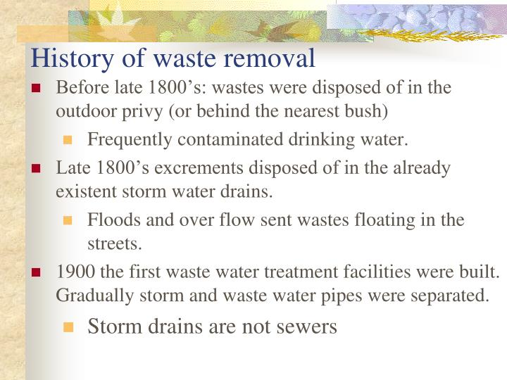 History of waste removal