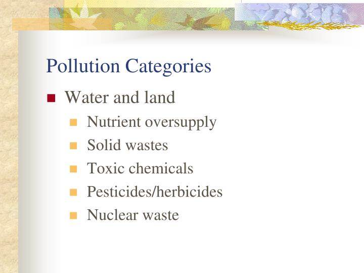 Pollution Categories