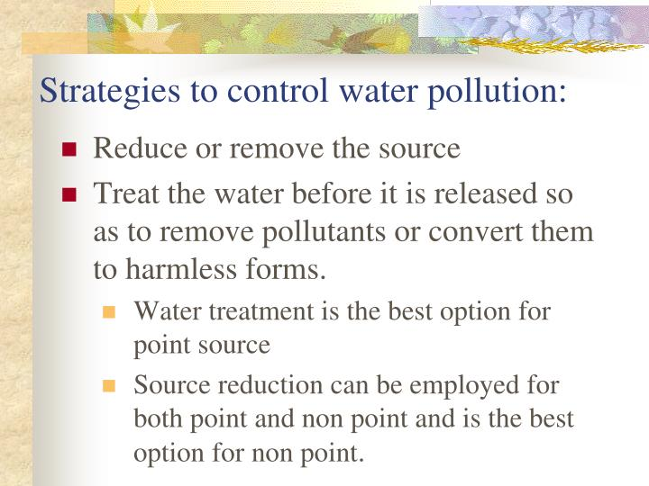 Strategies to control water pollution:
