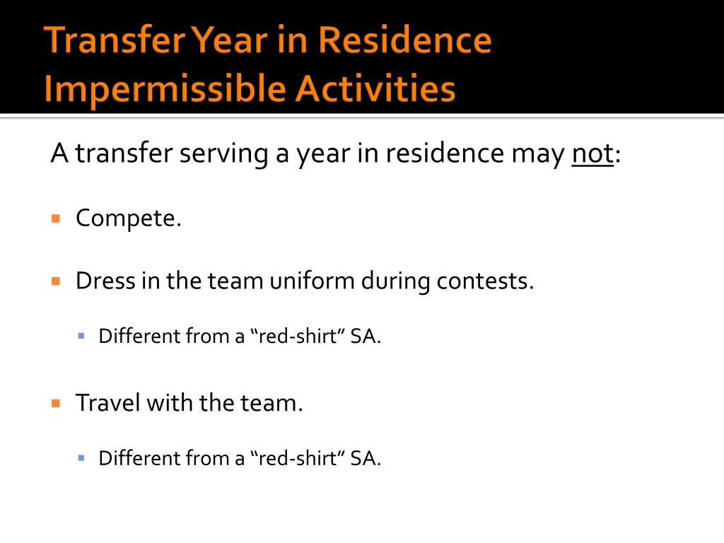 Transfer Year in Residence