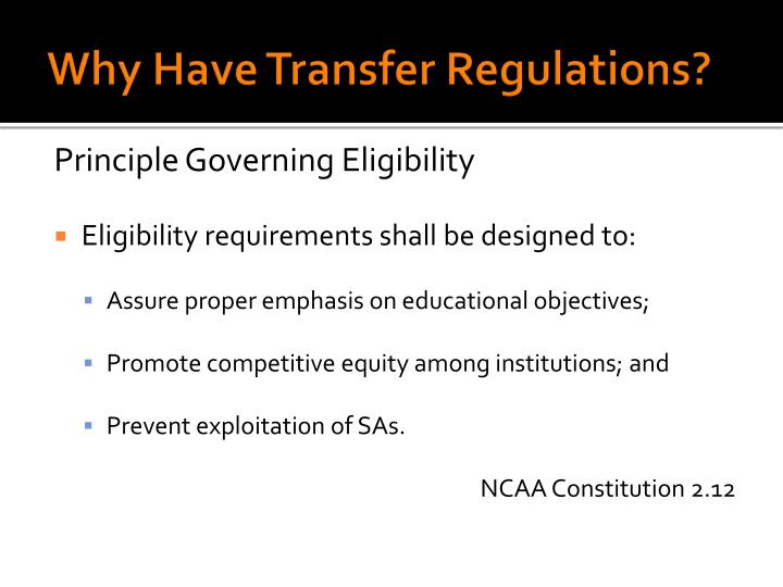 Why have transfer regulations