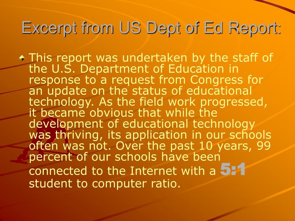 Excerpt from US Dept of Ed Report: