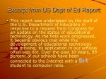 excerpt from us dept of ed report