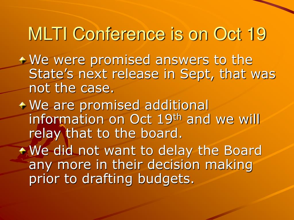 MLTI Conference is on Oct 19