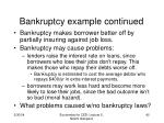 bankruptcy example continued