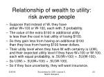 relationship of wealth to utility risk averse people