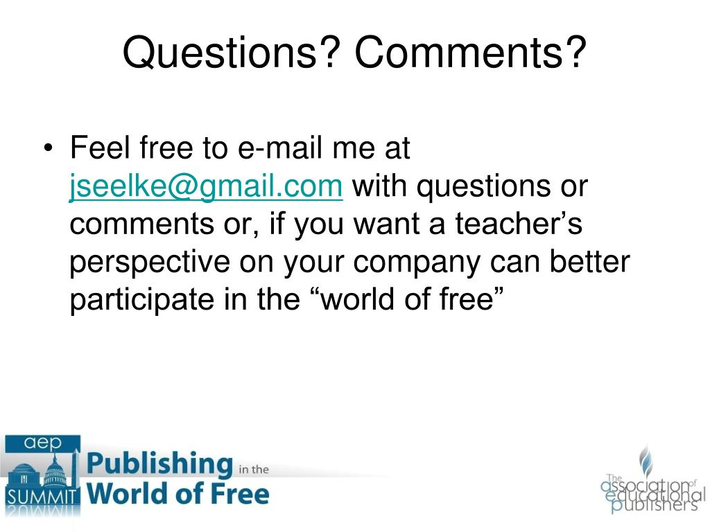 Feel free to e-mail me at