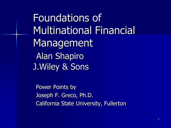 foundations of multinational financial management alan shapiro j wiley sons n.