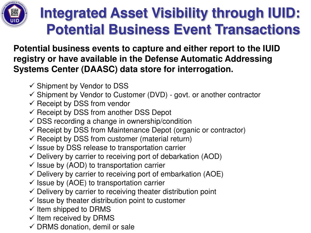 Integrated Asset Visibility through IUID: