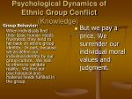 psychological dynamics of ethnic group conflict knowledge