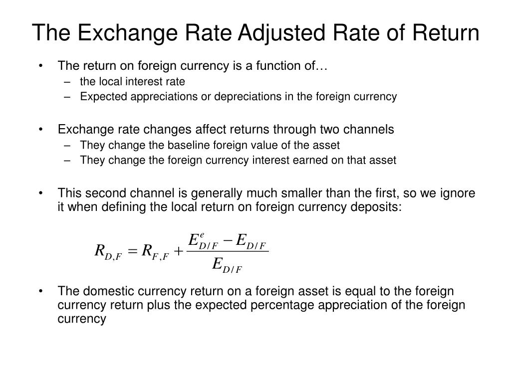 The Exchange Rate Adjusted Rate of Return