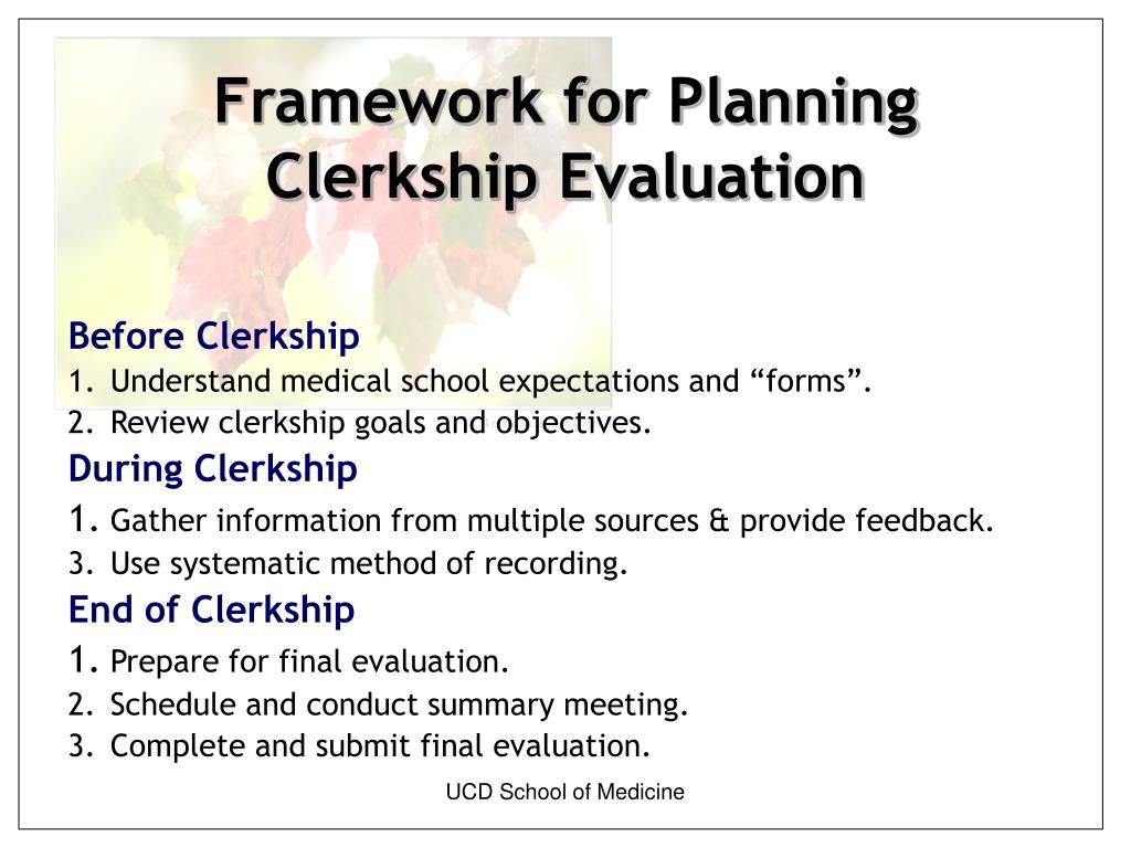 Framework for Planning Clerkship Evaluation