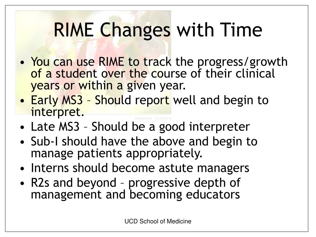 RIME Changes with Time