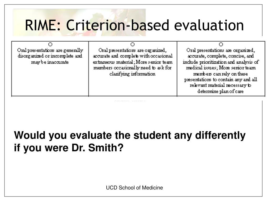 RIME: Criterion-based evaluation