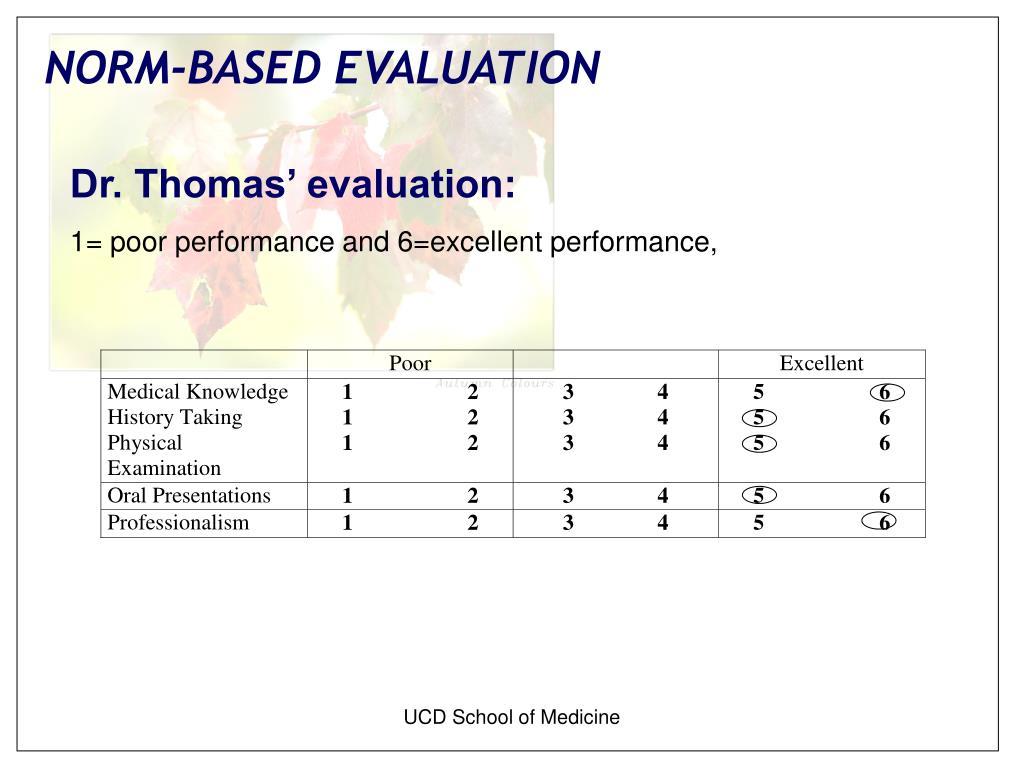 Dr. Thomas' evaluation: