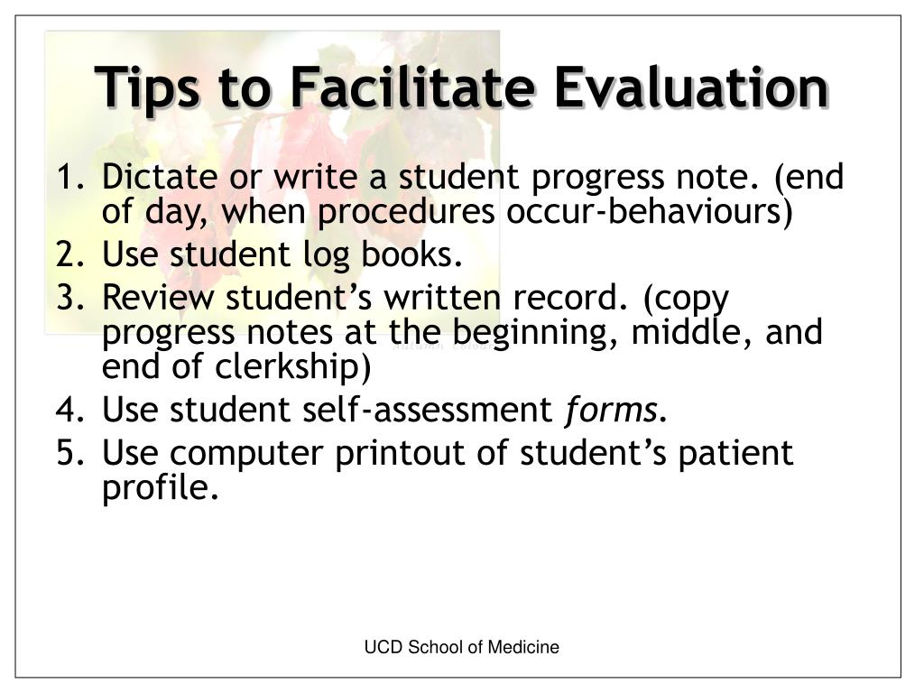 Tips to Facilitate Evaluation