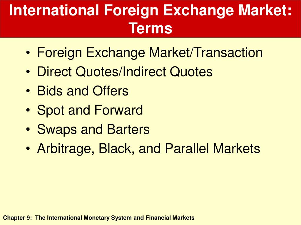 International Foreign Exchange Market: Terms