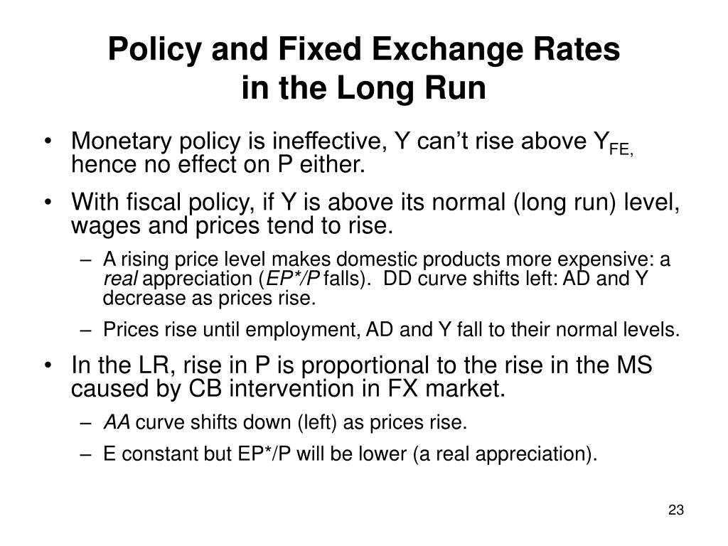 Policy and Fixed Exchange Rates