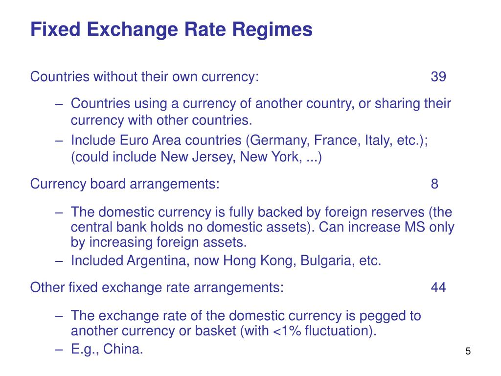 Fixed Exchange Rate Regimes