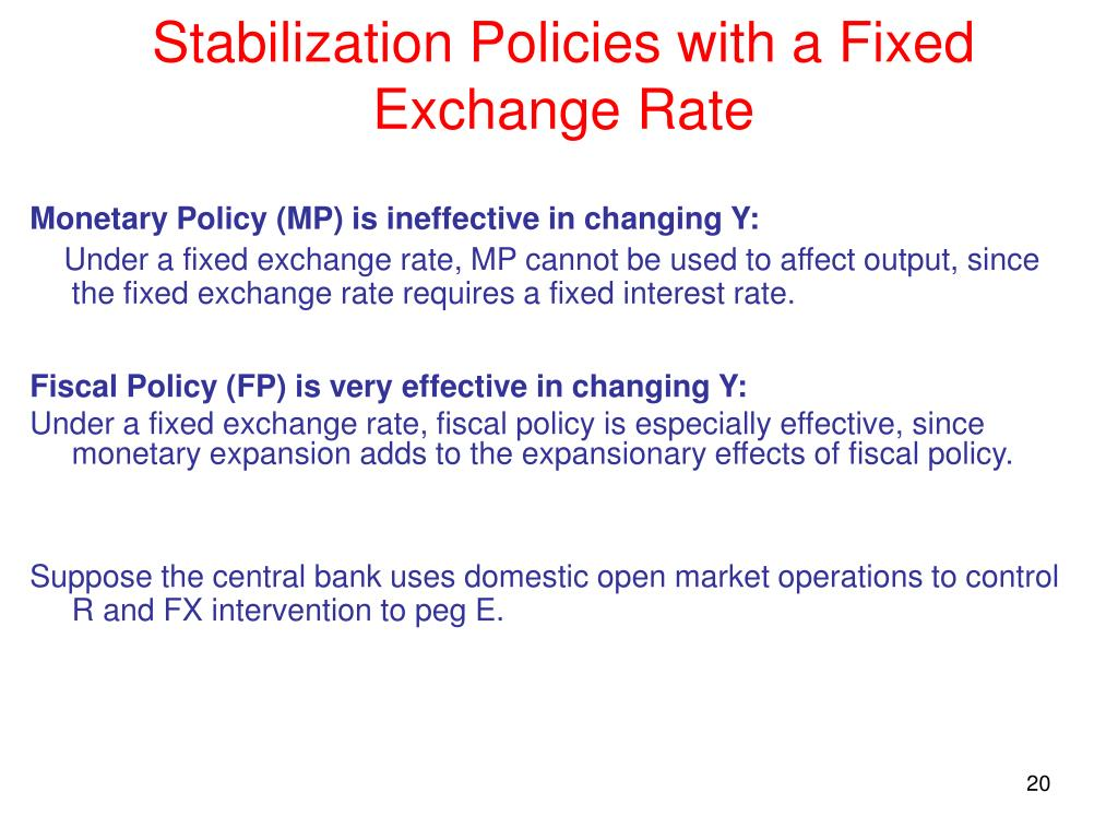 Stabilization Policies with a Fixed Exchange Rate