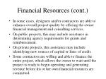 financial resources cont