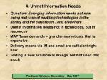 4 unmet information needs
