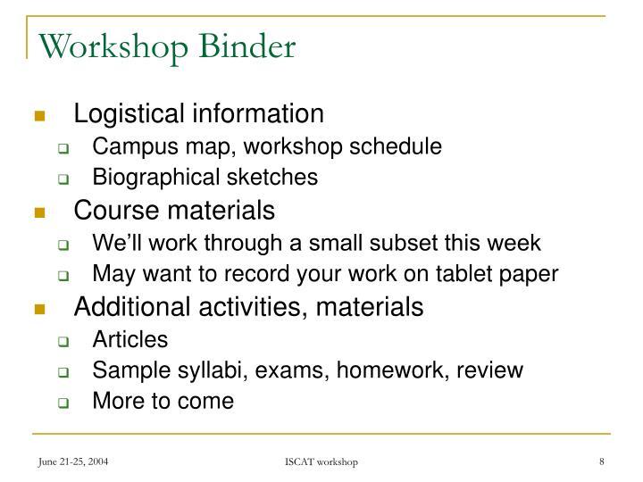Workshop Binder